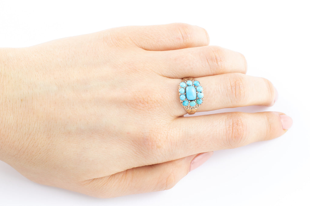 Antique 9ct Gold Turquoise Ring (1.21ct)