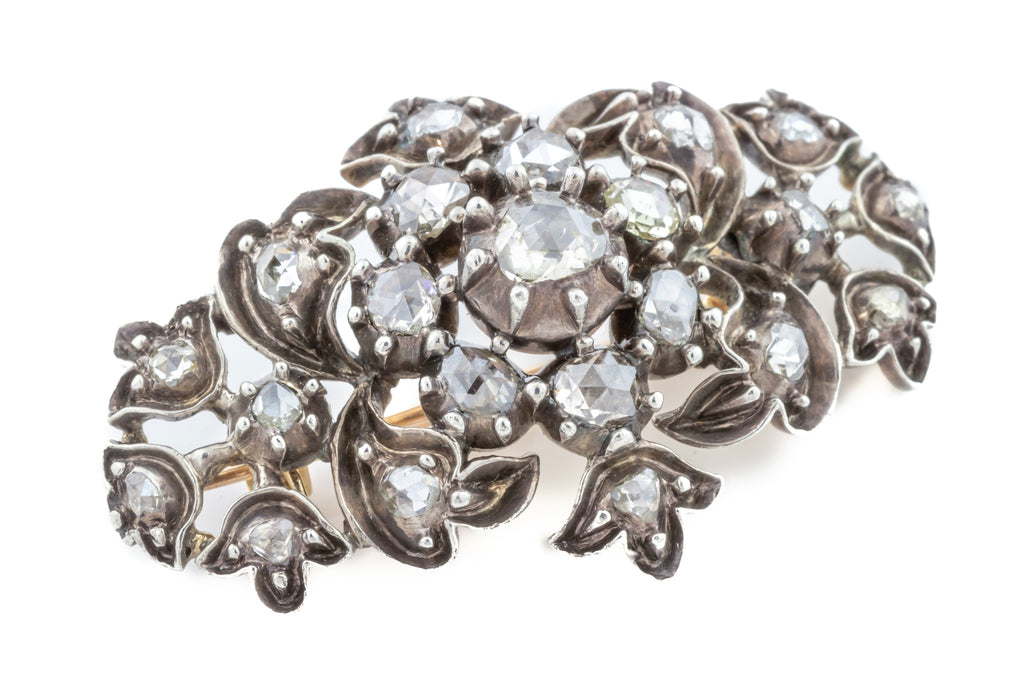 Georgian Diamond Cluster Brooch 1.40ct