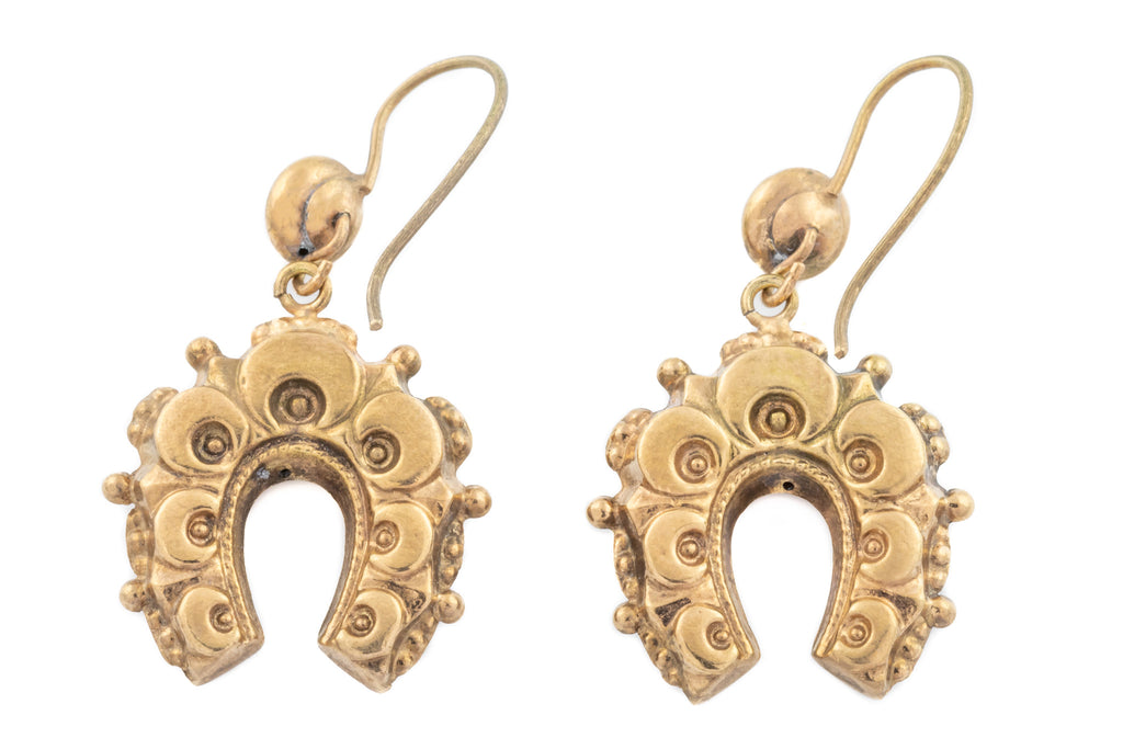 Victorian 12ct Gold Horseshoe Drop Earrings