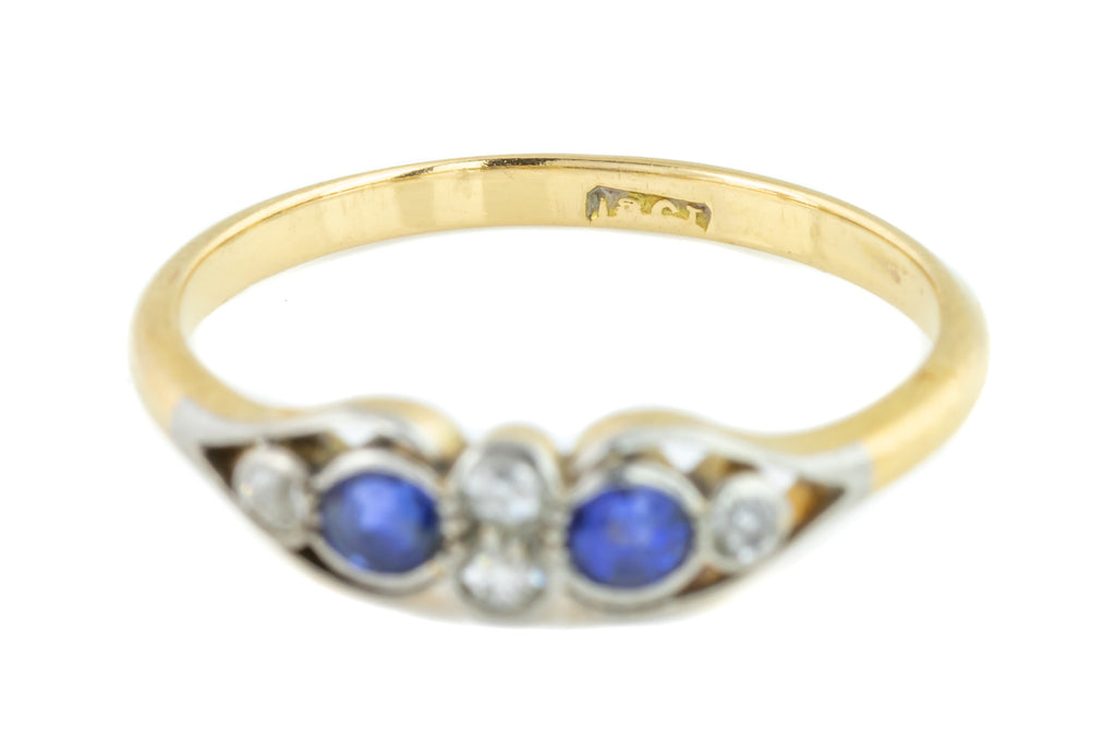 Art Deco 18ct Gold Diamond and Sapphire Ring