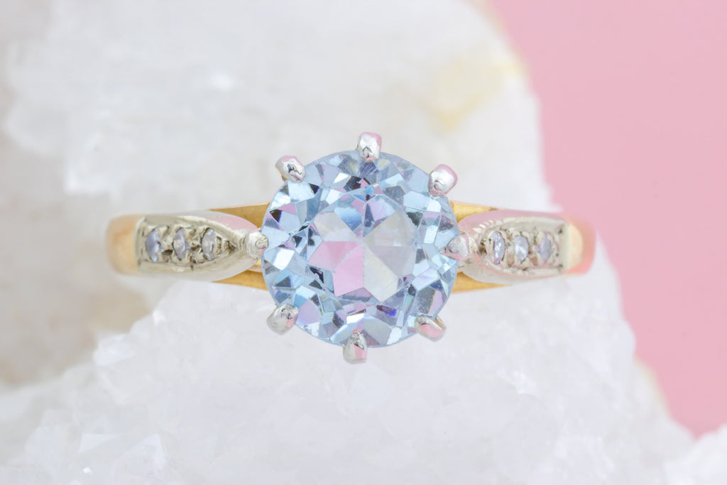 18ct Gold Art Deco Aquamarine Ring (2.22ct) c.1922