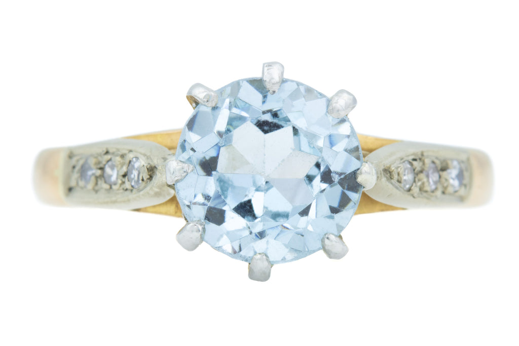 18ct Gold Art Deco Aquamarine Ring c.1922
