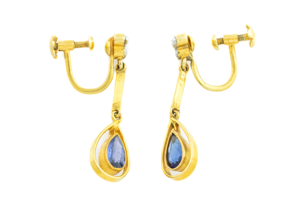 15ct Gold Edwardian Pear Shaped Sapphire Drop earrings