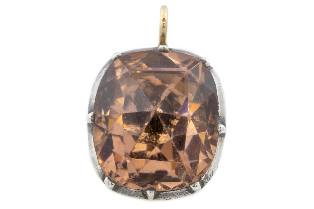 Georgian Imperial Topaz Paste Pendant with Rose Cut Facets c.1750