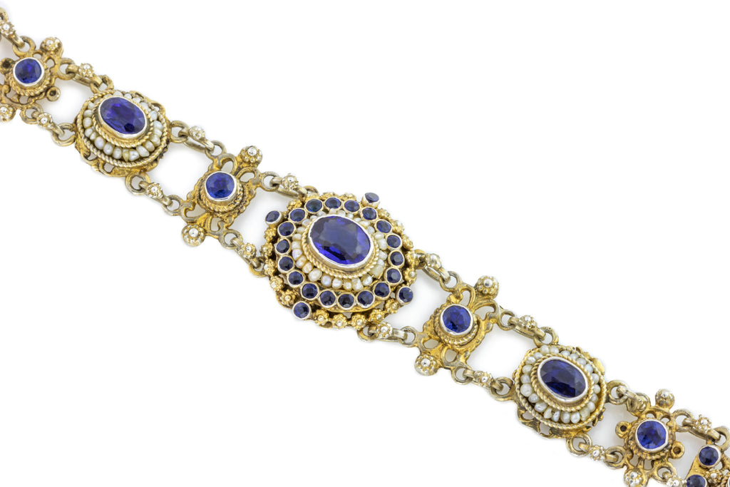 Austro-Hungarian Silver Bracelet with Blue Paste and Pearls