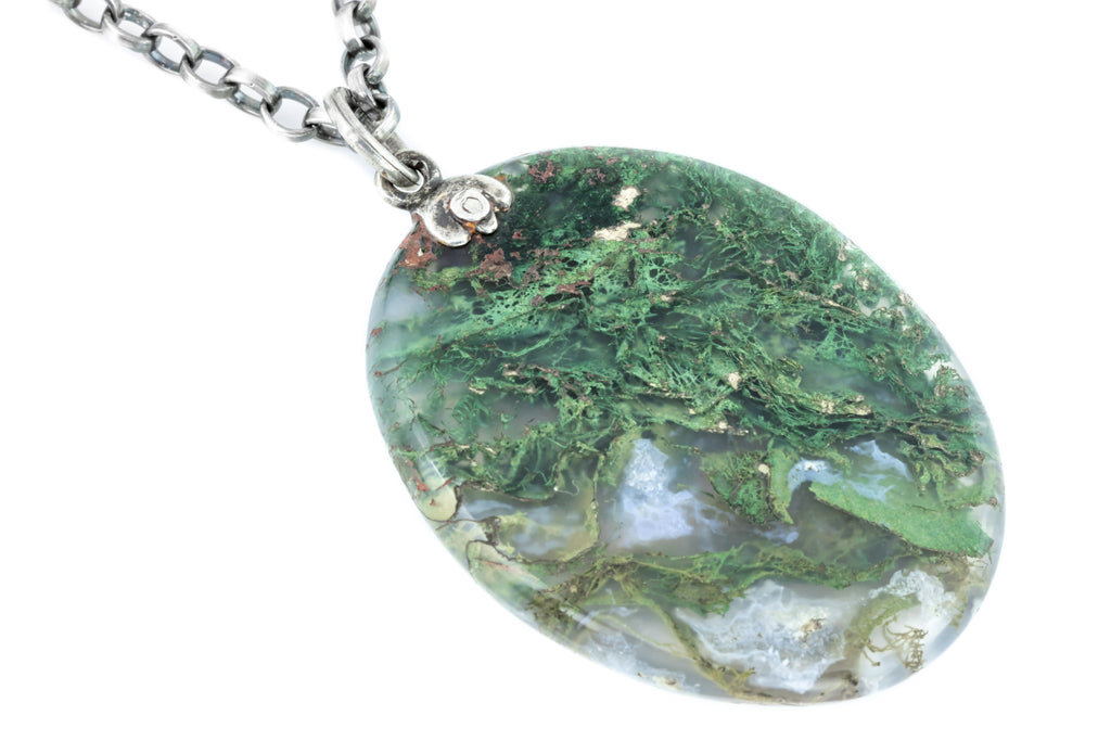19th Century Large Oval Moss Agate Pendant with Chain