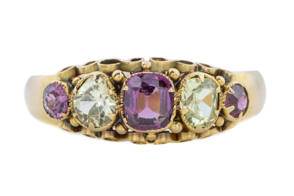 Victorian Chrysoberyl and Garnet Five Stone Ring