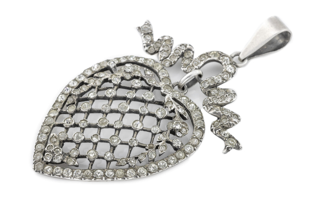 Large Silver Edwardian Paste Heart Pendant