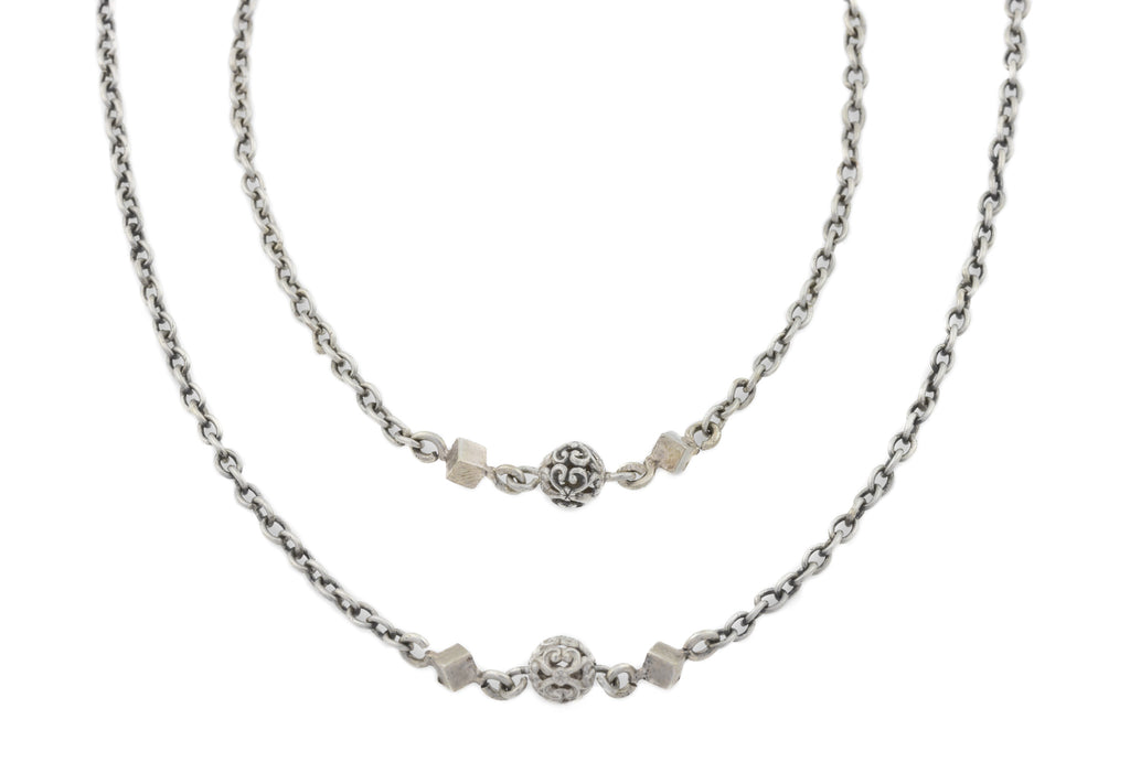 "Antique French Silver Chain Necklace, 46"" (15.3g)"