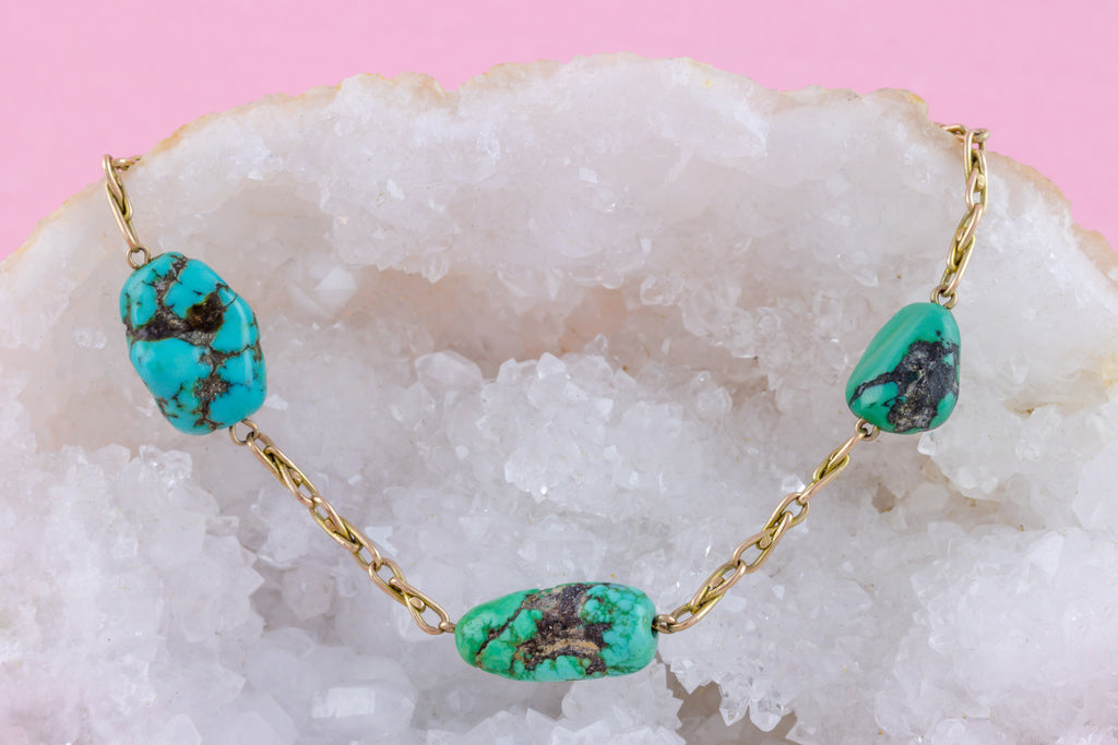 Antique 10ct Gold and Turquoise Bracelet, 8.3""
