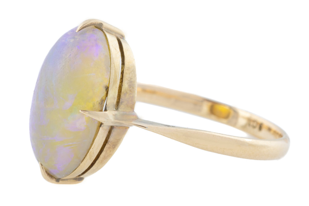 9ct Rose Gold Antique Opal Solitaire Ring (3.25ct)