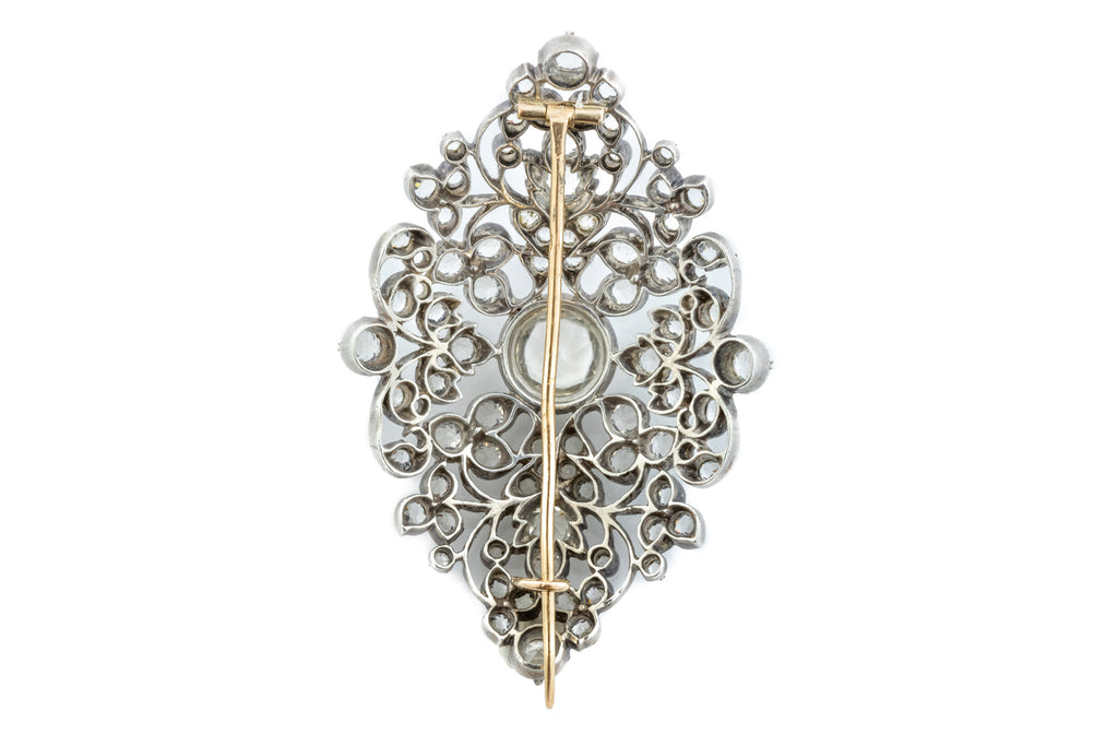 French Antique Silver Paste Brooch