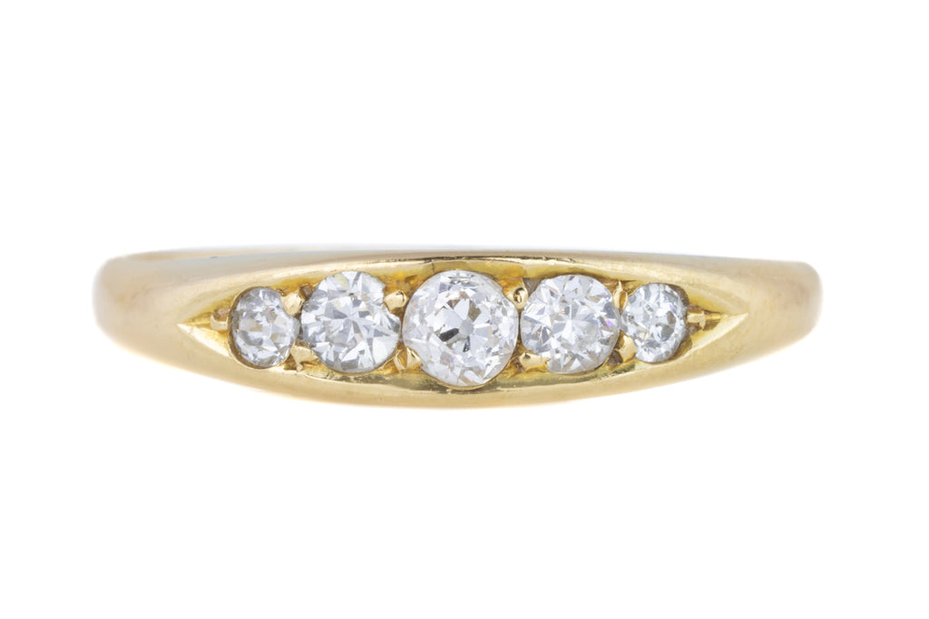 Antique 18ct Gold Five Stone Diamond Ring (0.14ct) c.1916