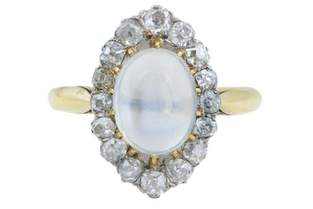 Victorian Moonstone Diamond Cluster Ring (0.62ct)