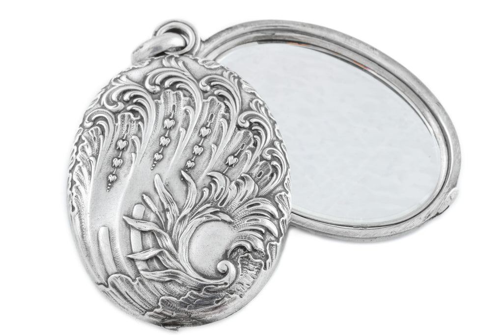 French Art Nouveau Mirror Pendant with Locket Compartment