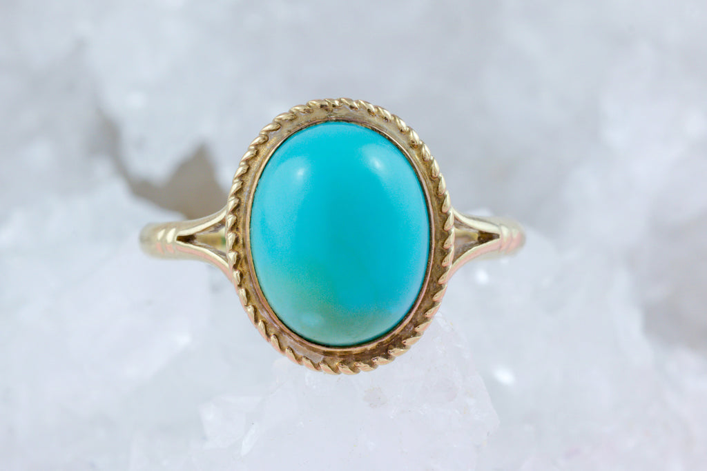 Vintage 9ct Gold Turquoise Ring c.1979