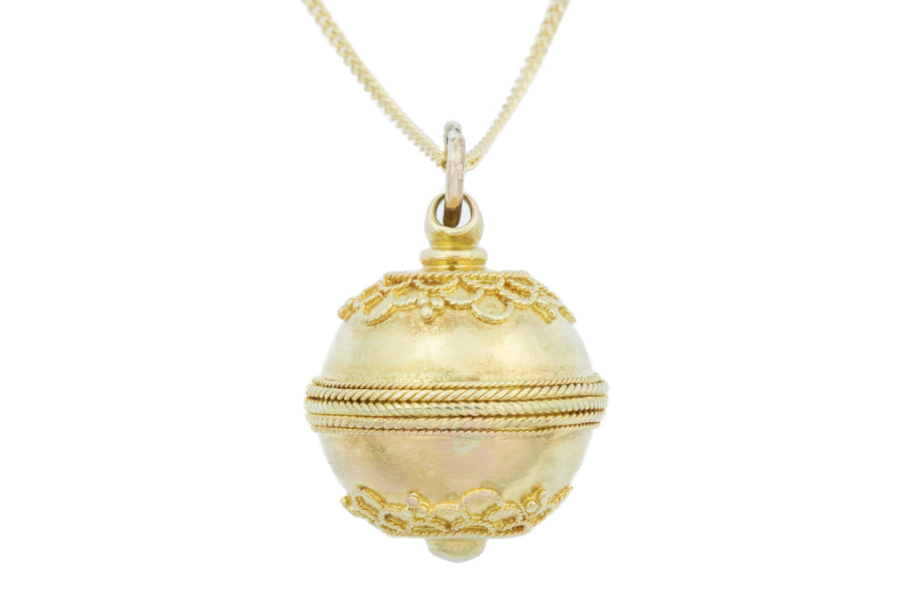 "15ct Gold Antique Etruscan Sphere Pendant, with 16"" Chain"