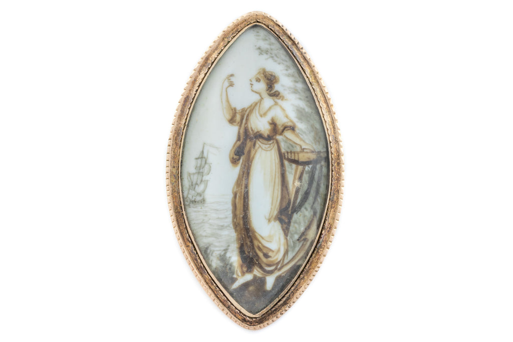 Georgian Gold Sepia Navette Brooch c.1790