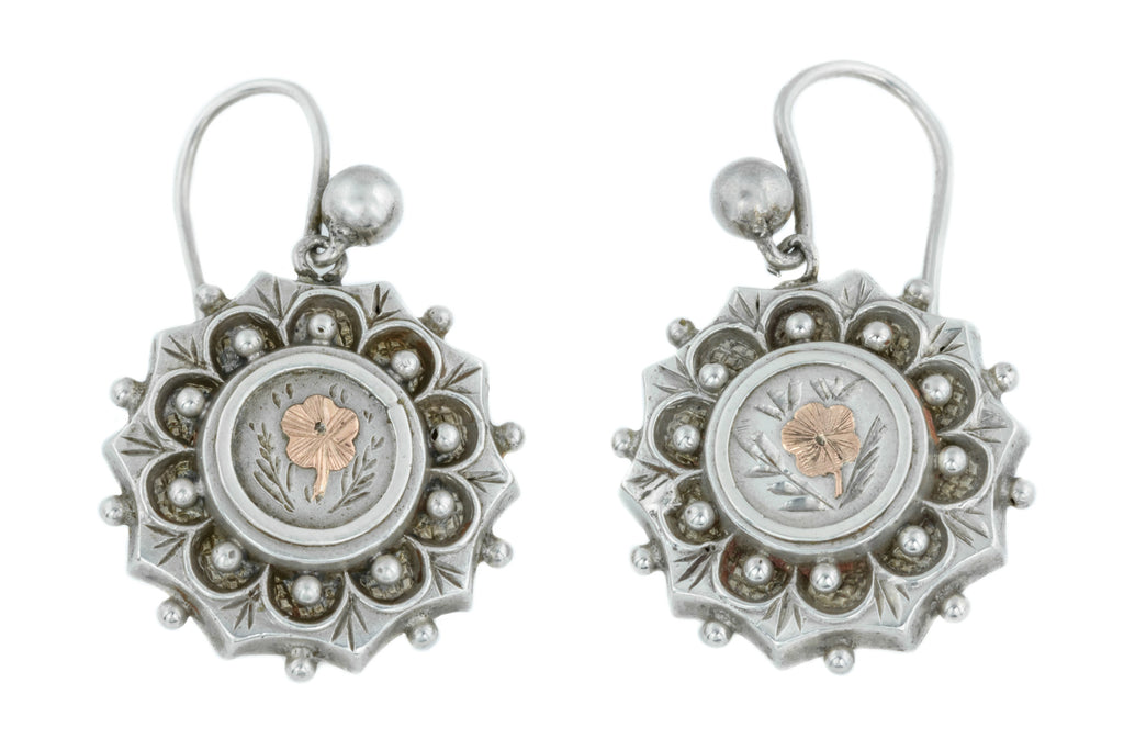 Silver Victorian Aesthetic Flower Drop Earrings