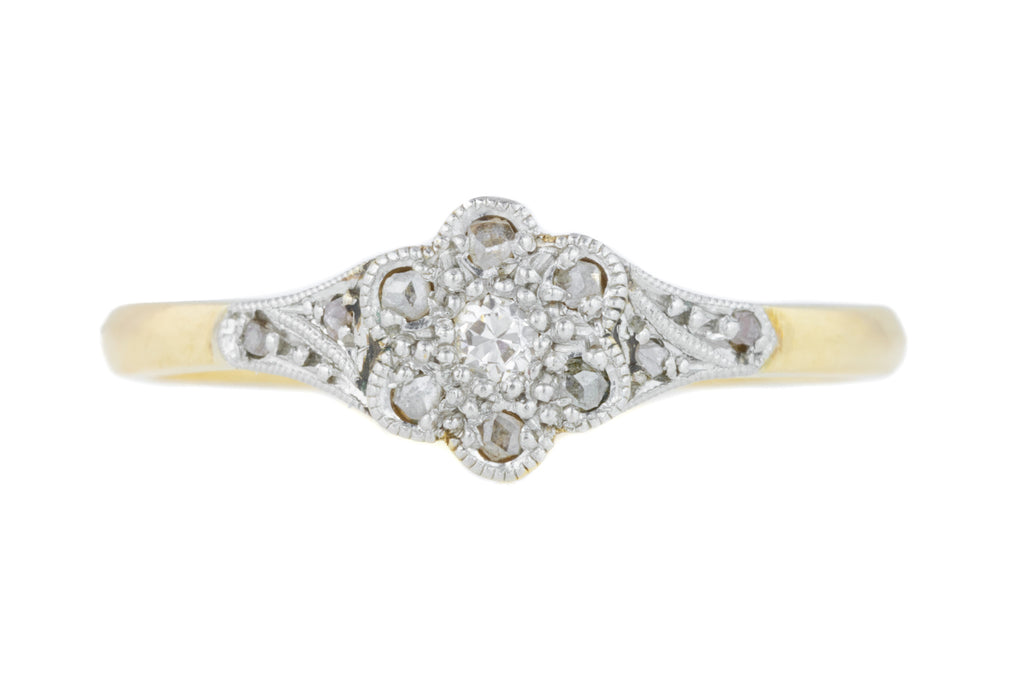 18ct Gold and Platinum Flower Cluster Diamond Ring