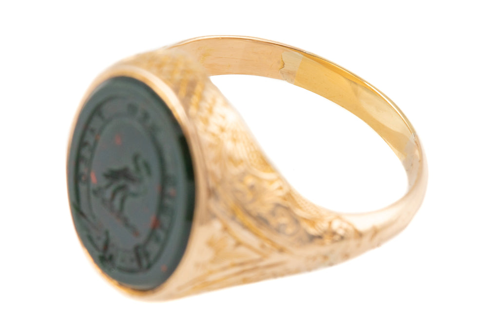"Antique 15ct Gold Bloodstone Intaglio Signet Ring, ""I Listen, but I Am Silent"""