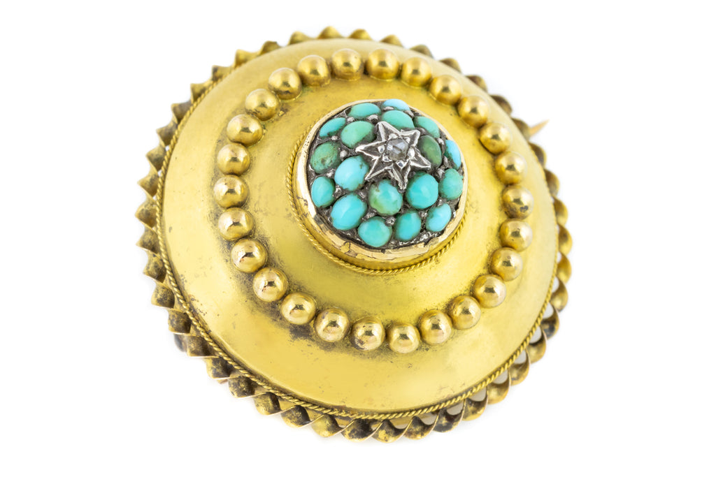 15ct Gold Victorian Turquoise and Diamond Brooch Pendant