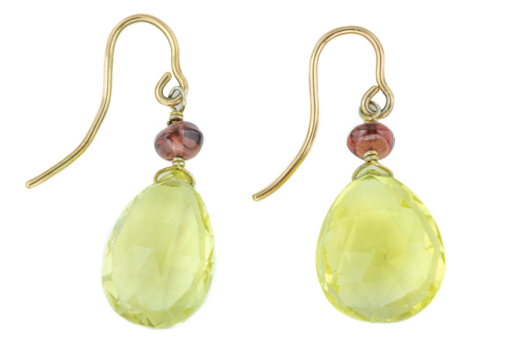 Antique Citrine Briolette Earrings (14.49ct)