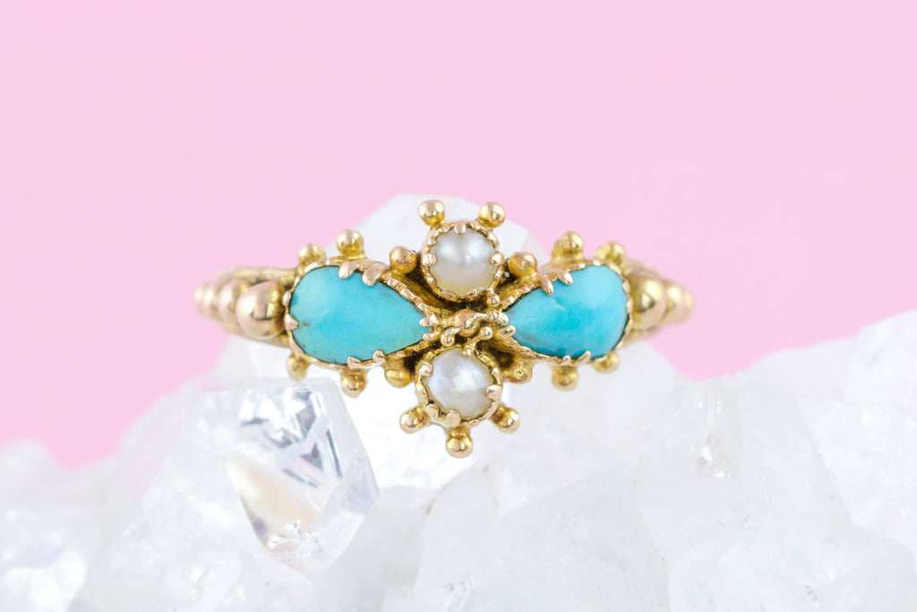 Georgian 18ct Gold Turquoise and Pearl Ring c.1830