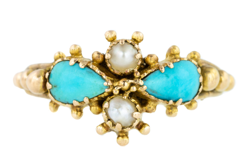 18ct Gold Georgian Turquoise Pearl Ring, c.1830