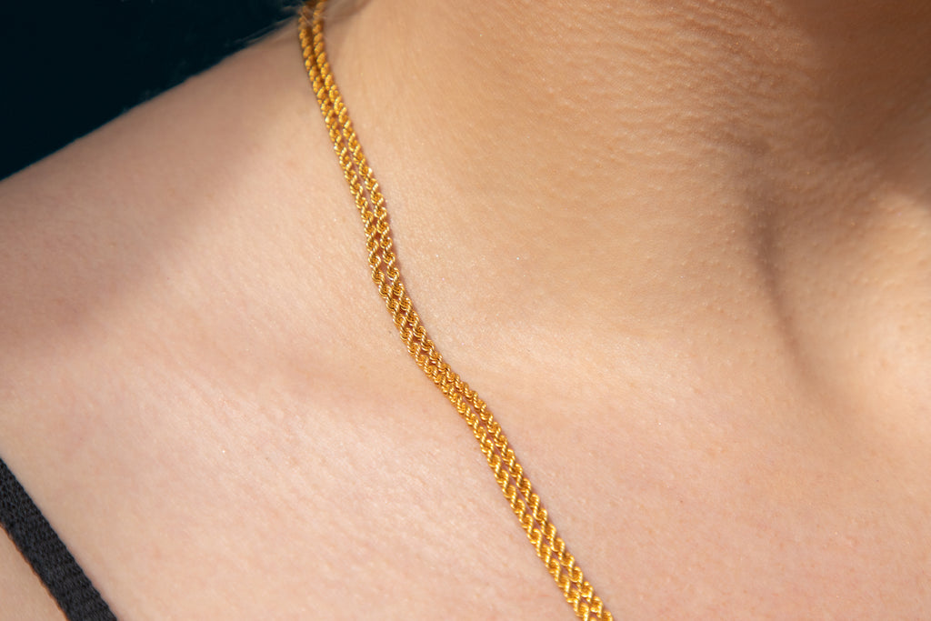 "Antique 18ct Gold Guard Chain Necklace, 44"" (20g)"