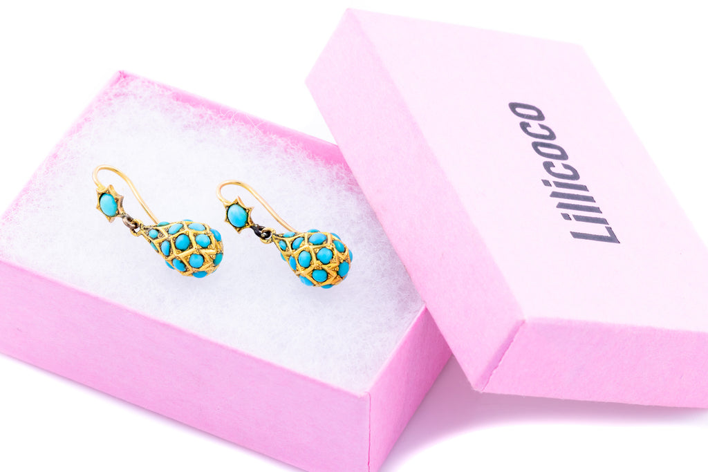 Victorian 18ct Gold Turquoise Drop Earrings