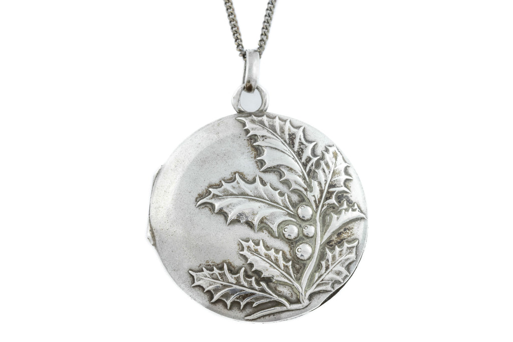 "French Antique Silver Repousse Locket, with 18"" Chain"