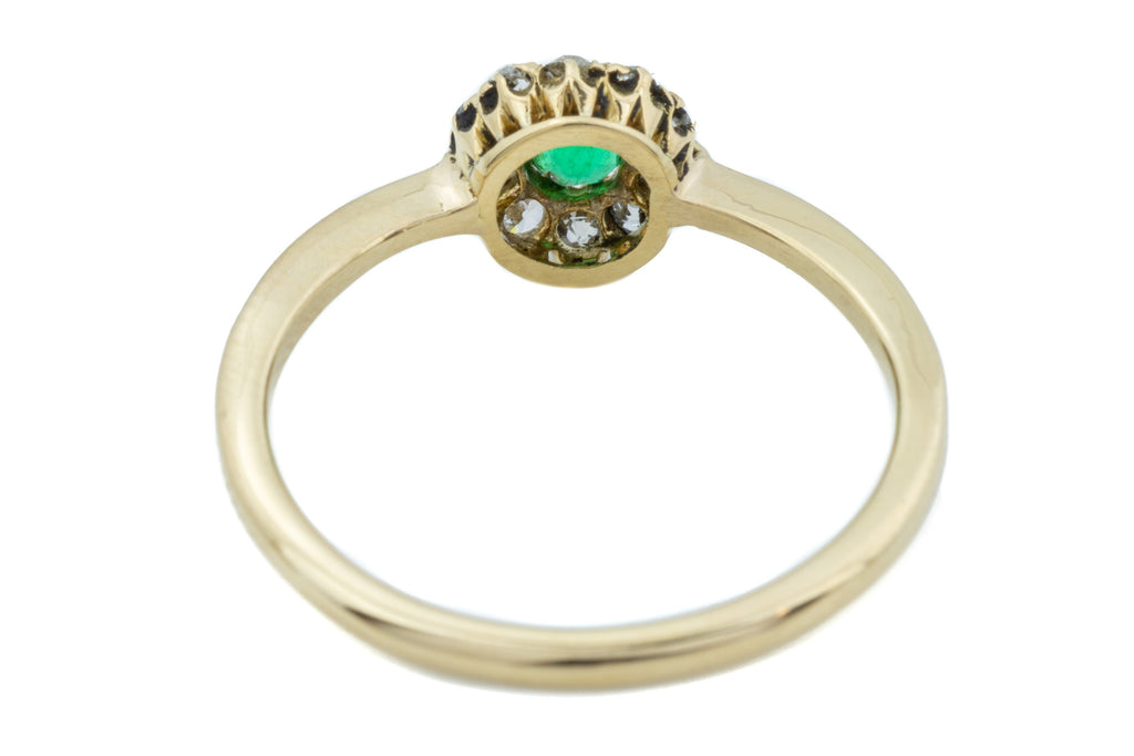 Antique 18ct Gold Emerald and Diamond Cluster Ring
