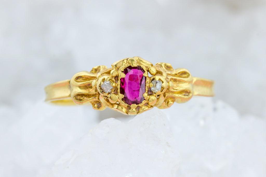 Early Victorian Ruby and Diamond Trilogy Ring