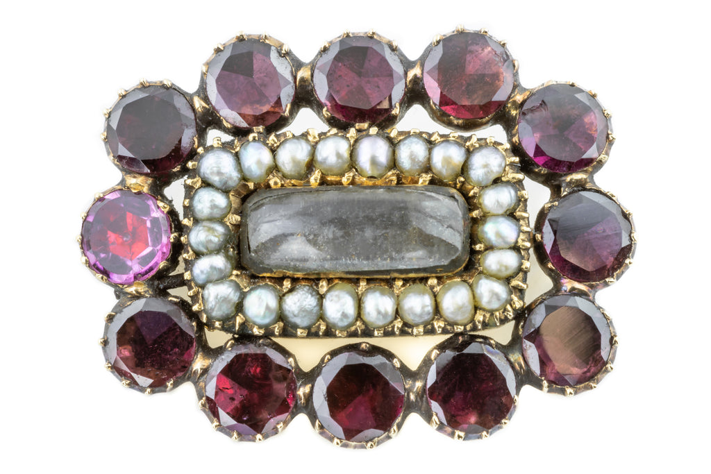 Georgian Garnet and Pearl Cluster Brooch Pendant in 9ct Gold
