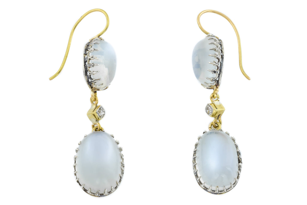 Victorian Moonstone Diamond Drop Earrings (19.0ct)