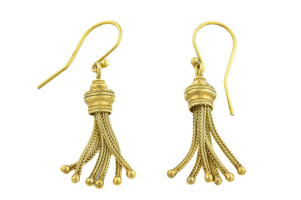 Victorian Silver Gilt Tassel Earrings