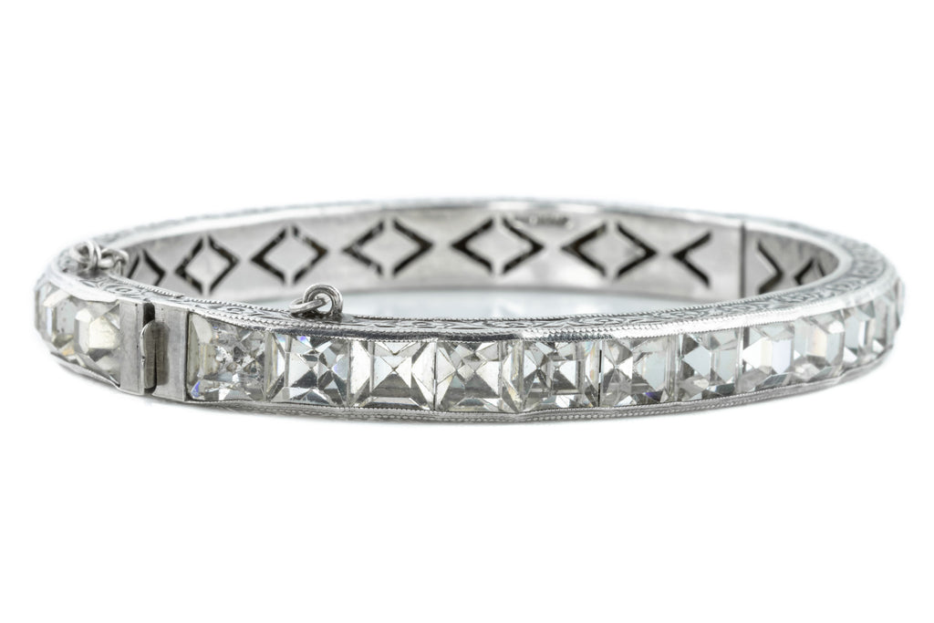 Silver Art Deco Paste Bangle with Floral Engraved Detailing