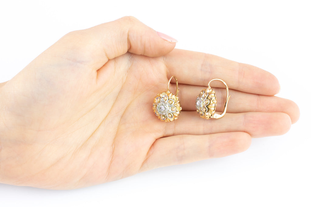 Etruscan Revival 18ct Gold Diamond Earrings c.1970