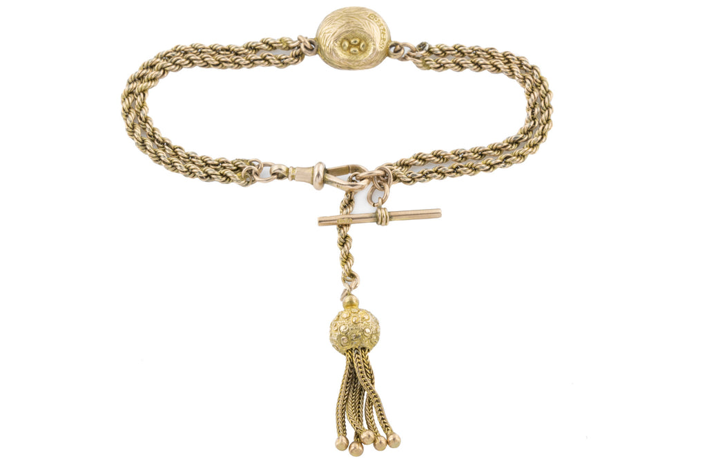 "Victorian Albertina Bracelet, 9ct Yellow Gold, 6.5"" (11.1g)"