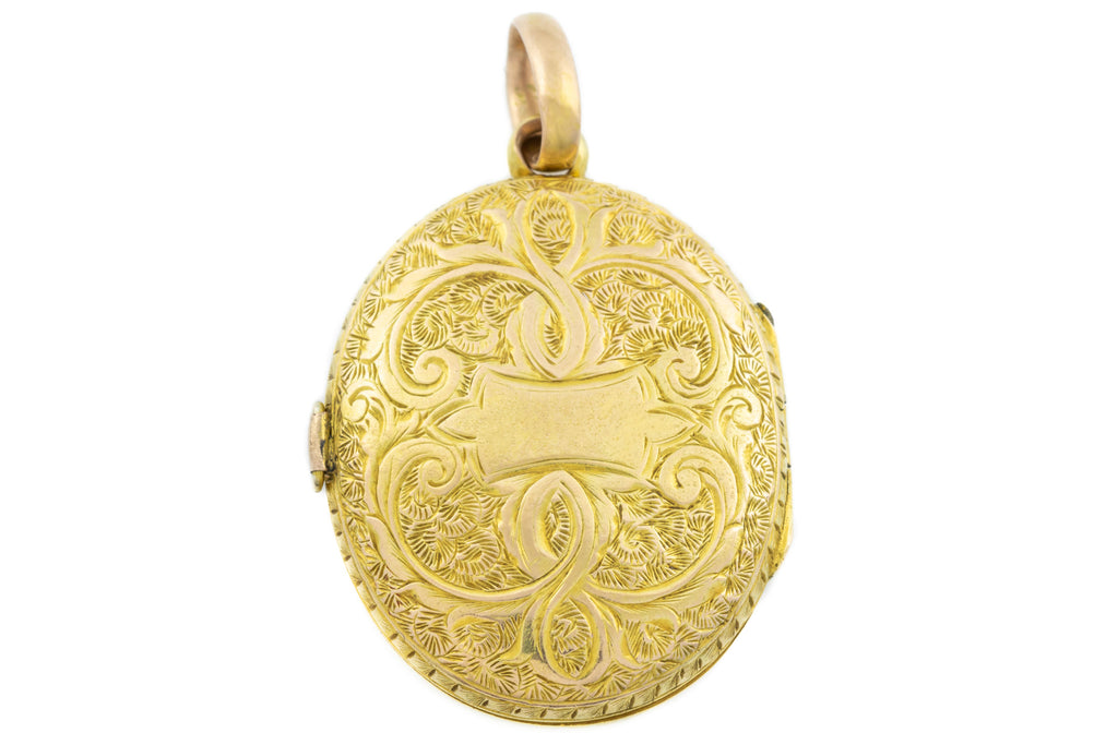 Victorian 15ct Gold Engraved Oval Locket c.1885