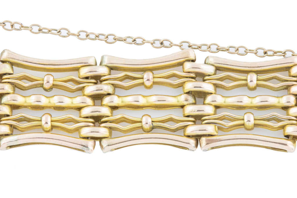 "Antique 9ct Gold Gate Bracelet, 7.3"" (21.2g)"
