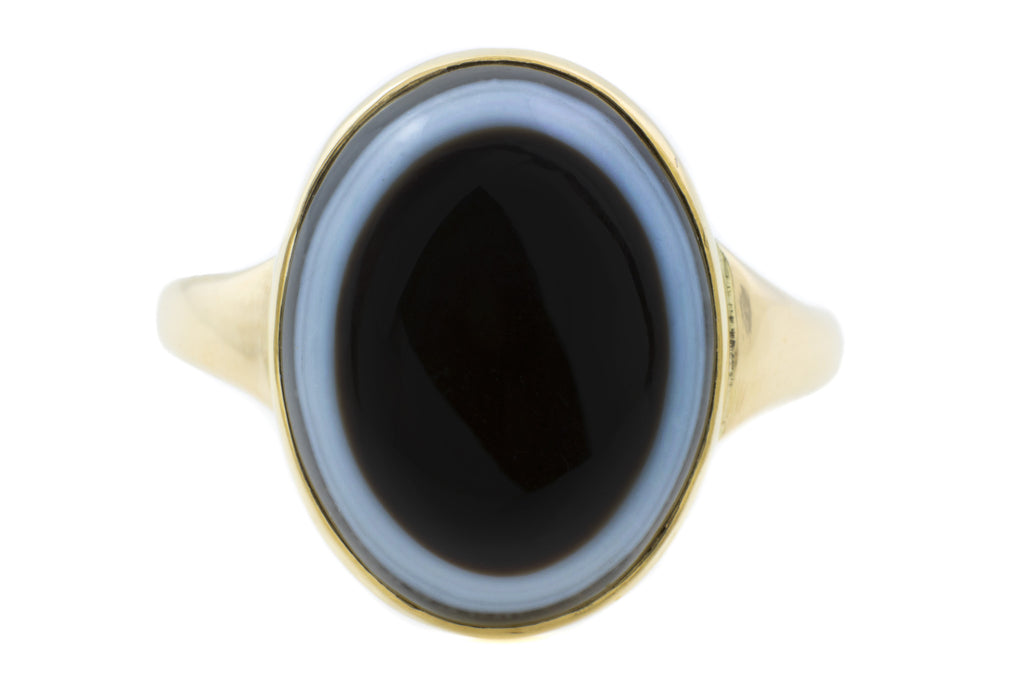 Victorian Banded Agate Ring in 15ct Gold