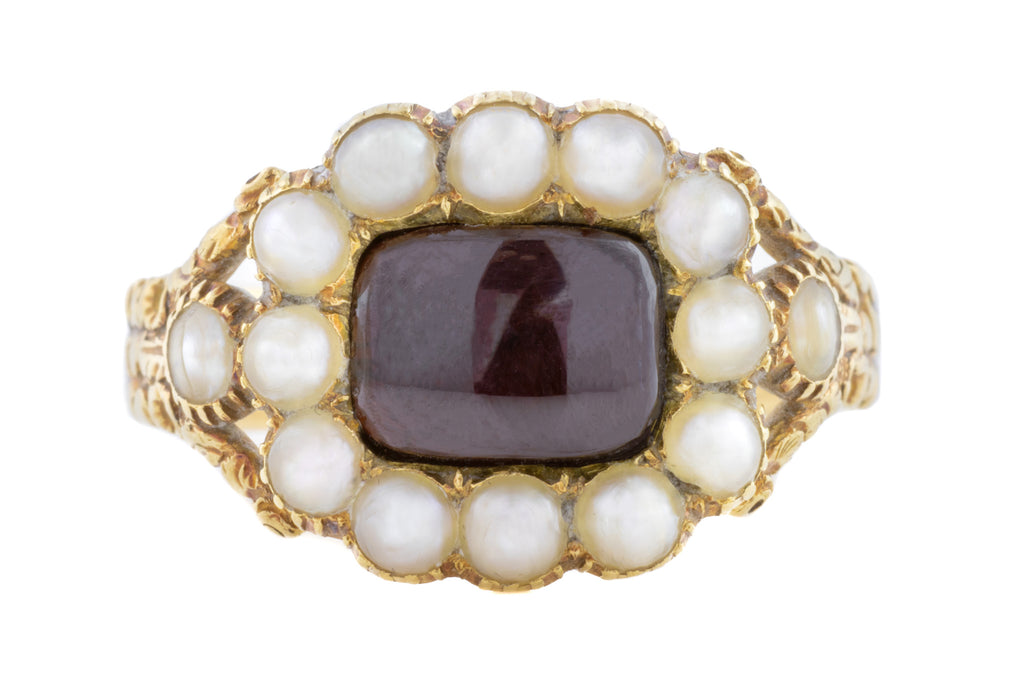 Georgian 18ct Gold Mourning Cluster Ring c.1827