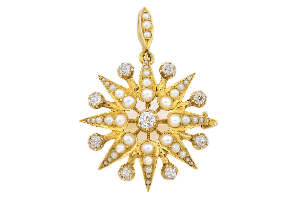 15ct Gold Victorian Pearl Diamond Star Brooch Pendant