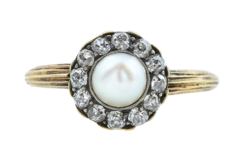 Antique Pearl and Diamond Cluster Ring (0.40ct)