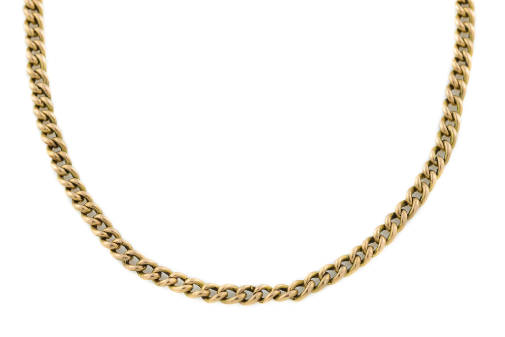 15ct Gold Antique Curb Chain Necklace 9.25g, 17""