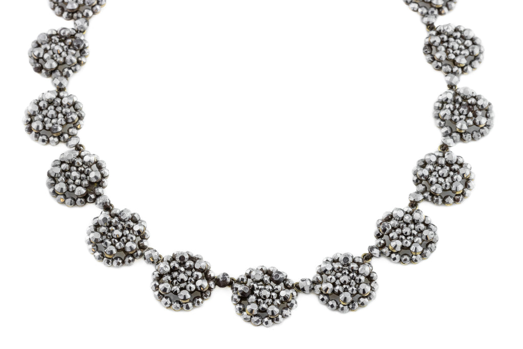 "Victorian Cut Steel Riviere Necklace, 16.5"" (49.8g)"