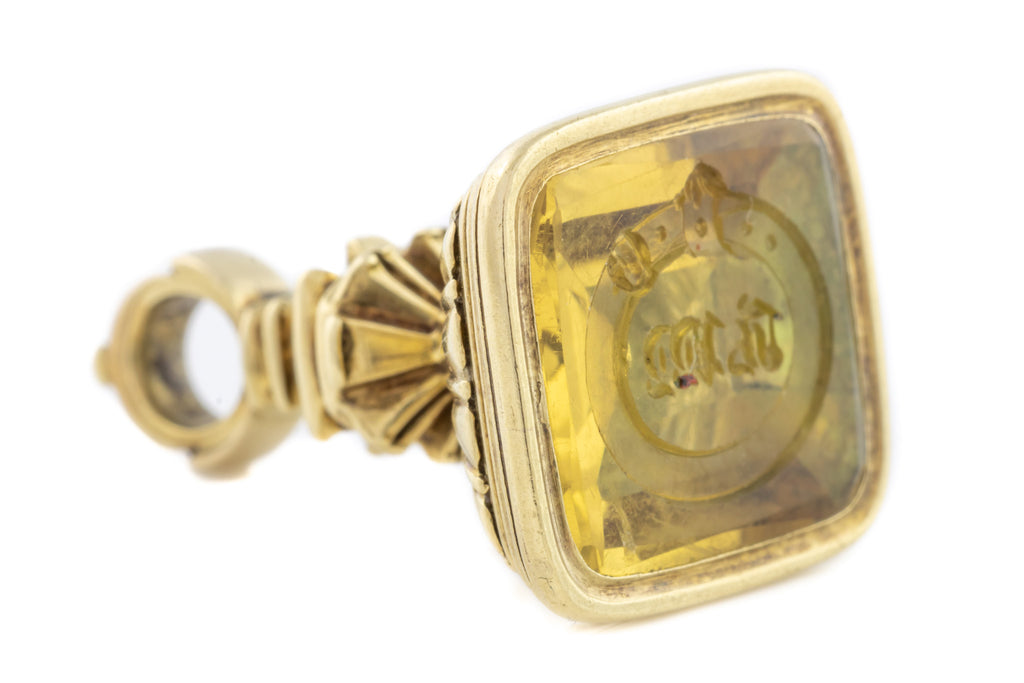 Solid 15ct Gold Antique Citrine Fob Pendant with Buckle Motif