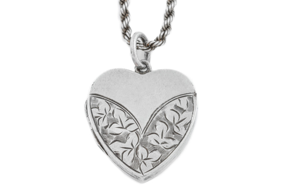 "Victorian Silver Heart Locket, with original 17"" Chain c.1886"